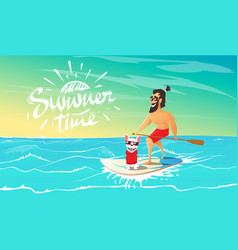 Cute happy dog and hipster swimming on surfboard vector
