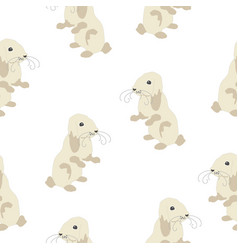 Cute seamless pattern with bunny on back feet vector