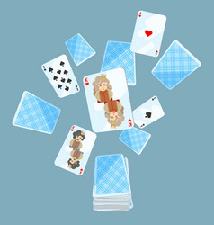 Deck of cards messed up vector