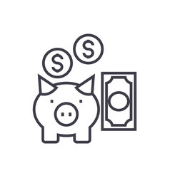 deposit insurancepig with money line icon vector image vector image