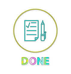 done round linear icon with check list and pen vector image