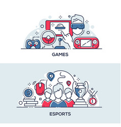 esports and games linear banner templates set vector image