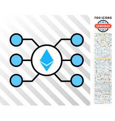 Ethereum crystal masternode links flat icon with vector