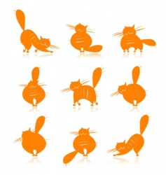 fat cats silhouettes vector image
