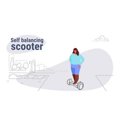 fat obese woman riding electric self balancing vector image
