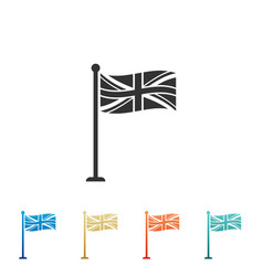 Flag of great britain on flagpole icon uk flag vector