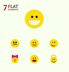 Flat icon face set hush grin winking and vector