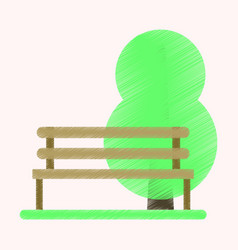 Flat icon in shading style bench in park vector