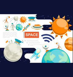 flat space colorful composition vector image
