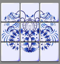 Floral ornament applied to a ceramic tile modular vector