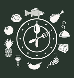 food banner with clock and different dishes vector image