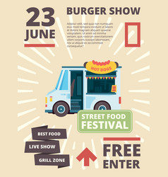food truck poster delivering products festival vector image