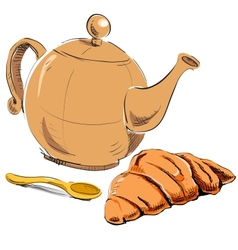 Fresh croissant and kettle vector