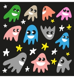 Funny ghosts - doodles set vector