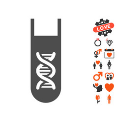 Genetic analysis test-tube icon with love bonus vector