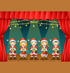 group of children singing christmas carols on the vector image