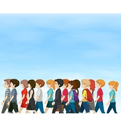 Group of people walking at daytime vector image