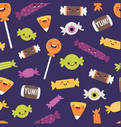 happy halloween candies seamless pattern vector image
