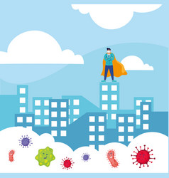 Heroic doctor wearing medical mask in cityscape vector