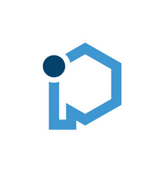 initial blue letter ip with hexagon shape vector image
