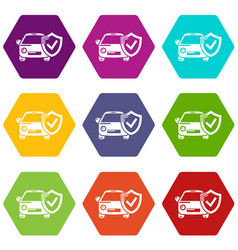 insurance car icons set 9 vector image