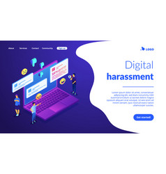 Internet trolling isometric 3d landing page vector