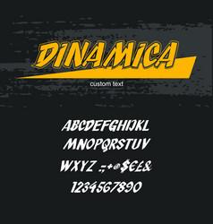 italic alphabet font capital letters on a dark vector image