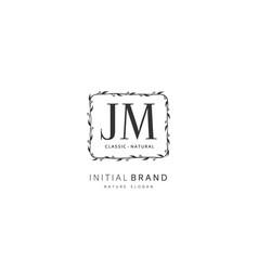 j m jm beauty initial logo handwriting logo vector image