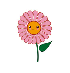 Kawaii pink daisy flower design vector