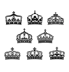 King and queen heraldic crowns set vector