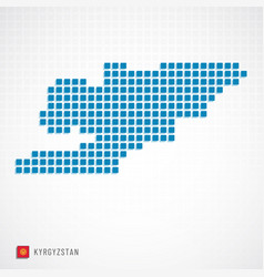 Kyrgyzstan map and flag icon vector