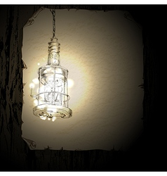 Lantern on the background of a wooden wall vector