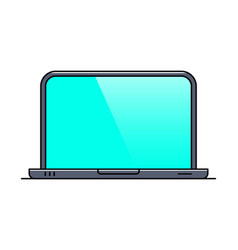 Laptop with blank screen thin line icon vector