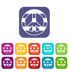 Lgbt peace sign icons set vector