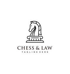line art knight horse chess and law logo design vector image