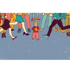 Little baby lost alone in crowd people danger vector image