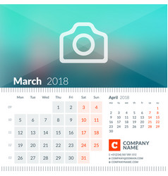 March 2018 calendar for 2018 year week starts on vector