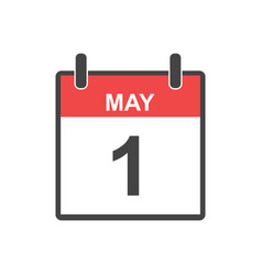 may 1 calendar icon labour day in flat style vector image