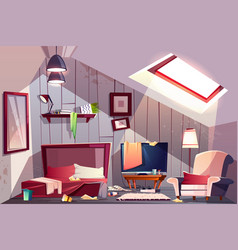 Messy garret bedroom cartoon vector