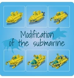 Modification of the submarines six icons vector