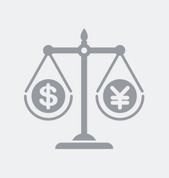 money scales with dollar and yen vector image