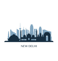 new delhi skyline monochrome silhouette vector image