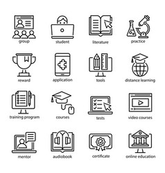 online education icon set internet studying vector image