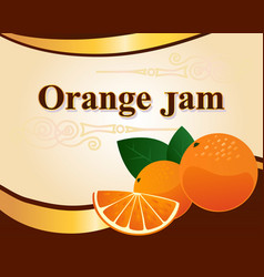 orange jam label design template vector image