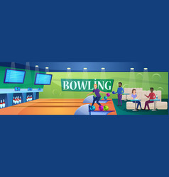 People play bowling game vector