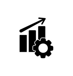performance icon chart progress up arrow and gear vector image