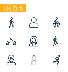 person icons line style set with business smart vector image