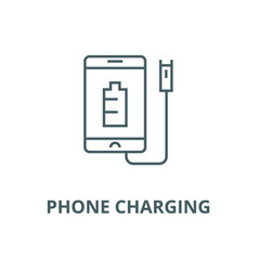 phone charging line icon linear concept vector image