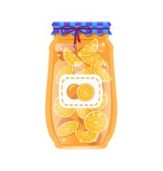 Preserved orange in rustic decorated glass jar vector