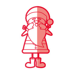 Red silhouette caricature of santa claus screaming vector